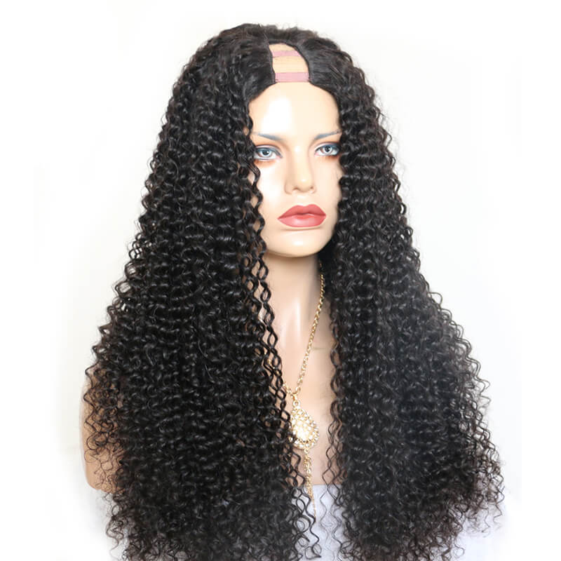 Middle Part Kinky Curly Brazilian Human Hair U Part Wigs with Straps or Lace For Women