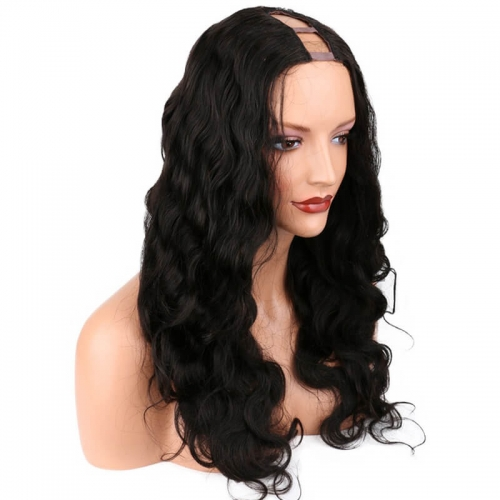 U Part Wigs For Black Women Natural Brazilian Human Hair Wigs Can Be Dyed Body Wave Hair