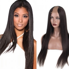 Yaki Straight Brazilian Human Hair U Part Wigs 130% Density Middle Part Side Part Wigs For Women