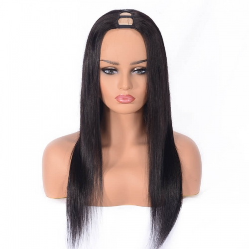 U Part Human Hair Wigs With Straps Adjustable Unprococessed Brazilian Hair Wig Natural Color