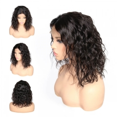 Middle Part Natural Wave Lace Front Wigs  Brazilian Human Hair Bob Style Swiss Lace Wig Pre Plucked Natural Hair Line