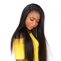 13x6 Silky Straight Lace Front Human Hair Wigs With Baby Hair Natural Hairline Bleached Knots Peruvian Remy Hair