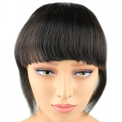 Brazilian Human Hair Blunt Bangs Clip In Human Hair Extension Natural Black  Virgin Hair Products