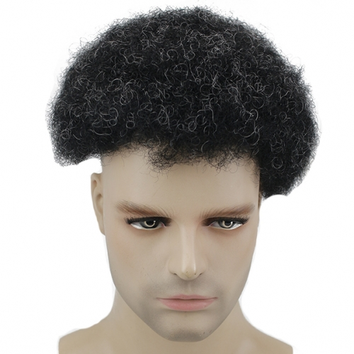 Afro Curly Human Hair Men's Toupee with 10% Grey Hair Size 10x8 Thin Skin Hairpiece Hair Replacement System
