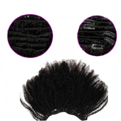 Clips In Hair Extension Natural Color Afro Kinky Curly Brazilian Human Hair 7 pieces 16 Clips
