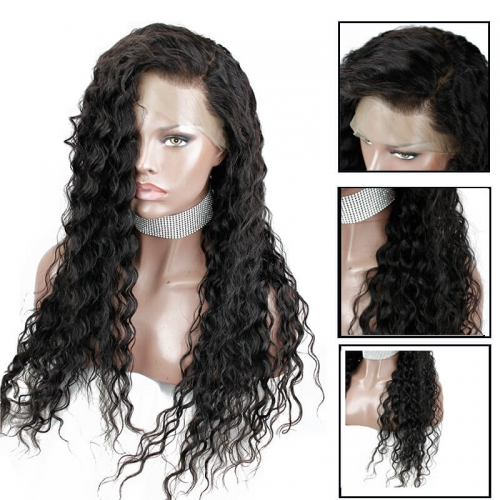 Full Lace Wigs Human Hair Bleached Knots Natural Color Brazilian Deep Curly Remy Hair Glueless Wig With Baby Hair Fast Shipping