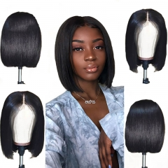 Bob Lace Front Human Hair Wigs Pre Plucked Silky Straight 130% Density Lace Front Wig With Baby Hair