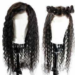 13x6 Deep Parting Curly Human Hair Lace Frontal Wigs With Natural Baby Hair Pre Plucked Hair Line Natural Color Brazilian Hair