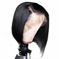 Natural Color 100 Human Hair Lace Front Wigs Pre Plucked Hair Line Bob Cut Silky Straight Wig With Baby Hair