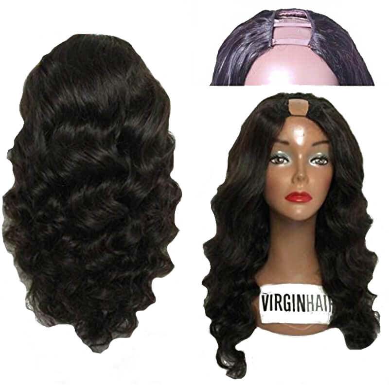 Malaysian Virgin Human Hair U Part Wig Loose Bouncy Wave None Lace Upart Wigs Human Hair U Opening Wigs For Black Women 130 Full Density