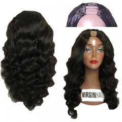 Malaysian Virgin Human Hair U Part Wig Loose Bouncy Wave None Lace Upart Wigs Human Hair U Openging Wigs For Black Women 130 Full Density