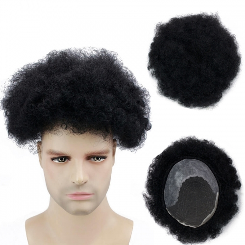 Human Hair Men's Toupee PU at Back with Lace Frontal Afro Kinky Curly Brazilian Black Hair Size 10x8 Replacement For Males