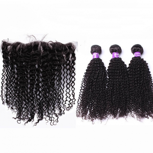 Curly Remy Human Hair Bundles with 13X4 Silk Base Lace Frontal With Baby Hair Base Size 4x4