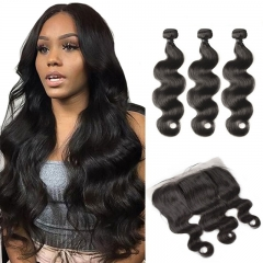 Body Wave Human Hair 13X4 Lace Frontal Closure With 3PCS Bundles Unprocessed Brazilian Hair Natural Color Fast Shipping