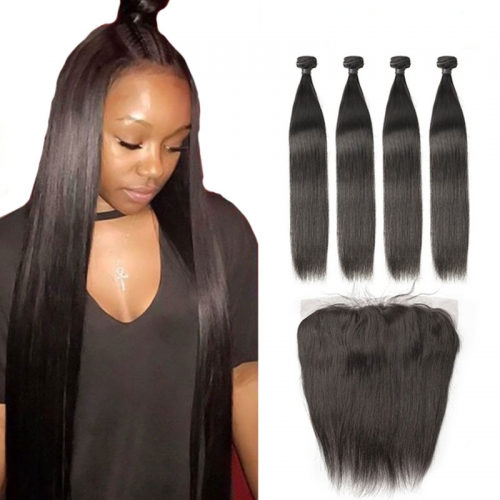 Brazilian Human Hair Bundles with Frontal Straight Virgin Lace Frontal Closure with Bundles Hair Extension 4pcs/Lot