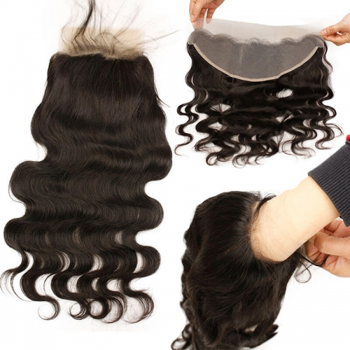 13x4 Transparent Lace Frontal Closure With Natural Baby Hair Unpocessed Brazilian Body Wave Natural Color Hair Frontal