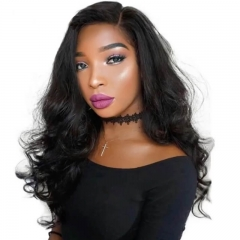 4x4 Silk Base Full Lace Human Hair Lace Wig Pre Plucked Hair Line With Natural Baby Hair Around Lightly Bleached Knots Natural Black Color Wave Hair