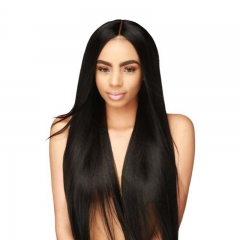 Straight Natural Black Human Hair 300% Dnesity Lace Front Wig Pre Plucked Hair Line For Black Women