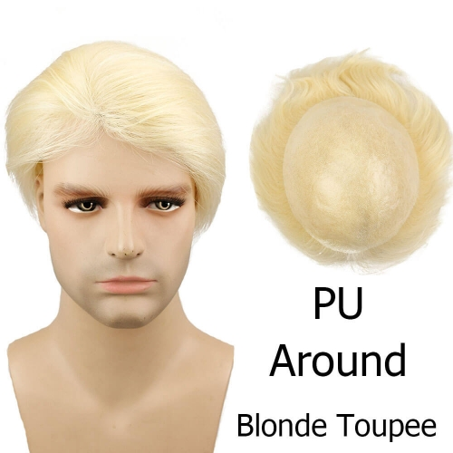 613 Human Hair Men's Toupee Straight Brazilian Hair Wigs For Men Thin Skin PU Base Size 10x8 Fast Shipping