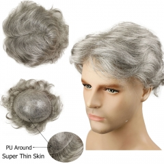 Men's Toupee Color 1B Human Hair with 80% Grey Synthetic Grey Hair Wig For Men Super Thin Skin Hair replacement Whole PU Around