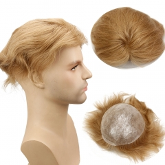 Color #21 Human Hair Toupee Brazilian Remy Straight Hair Skin PU Hiar Replacement Wigs For Men