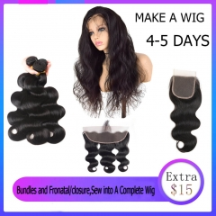 Sewing Service With 4-5 Days Customize $15 extra Complete A Wig For You (this link need order with bundles and closure )