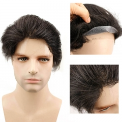 Super Thin Skin PU Toupee Brazilian Human Hair Wigs For Men 10X8 Hairpieces Black Color Hair Replacement