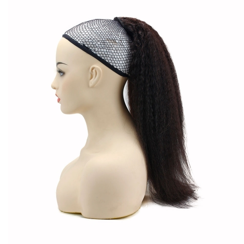 Kinky Straight Brazilian Human Hair Ponytail Natural Color Human Hair Ponytail with Two Clips And Adjust Drawstring