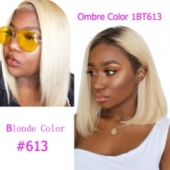 Blonde Color Human Hair Lace Front Wigs Color 613 Ombre 1B 613 Lace Wig Pre Plucked with Natural Baby Hair Around Bob Cut Wig
