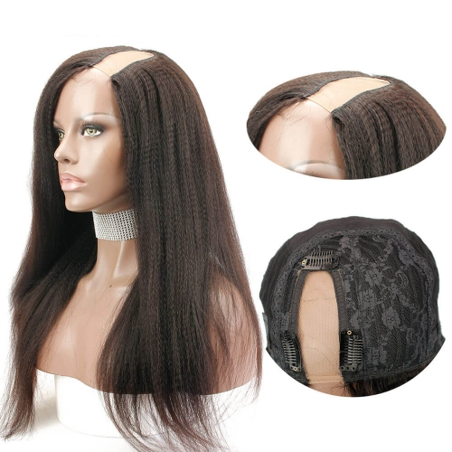 Kinky Straight U Part Lace Wigs with Lace Side Openning Brazilian Remy Human Hair Wigs Natural Color