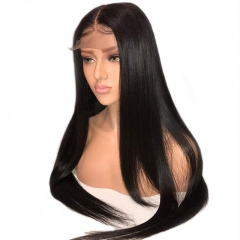 130% Silky Straight Full Lace Human Hair Wigs Pre Plucked With Baby Hair For Women Brazilian Remy Hair Bleached Knots
