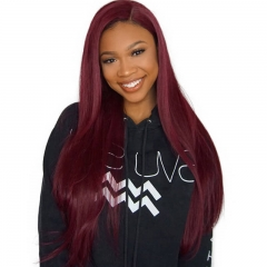 13x4 Silky Straight Lace Front Human Hair Wigs Colored 99j Wig Pre Plcuked Natural Baby Hair 130% Density