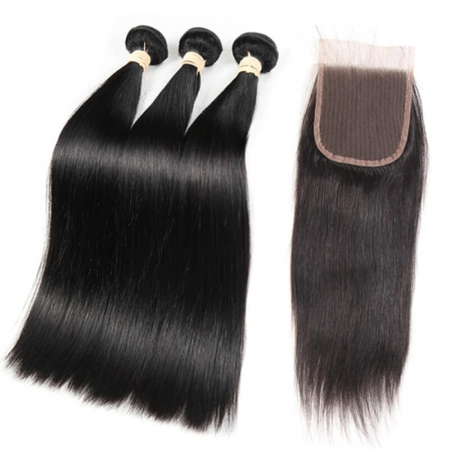 Silky Straight 3 bundles Human Hair Weft With 4x4 Swiss Lace Closure with Natural Baby Hair Around Natural Color Brazilian Hair