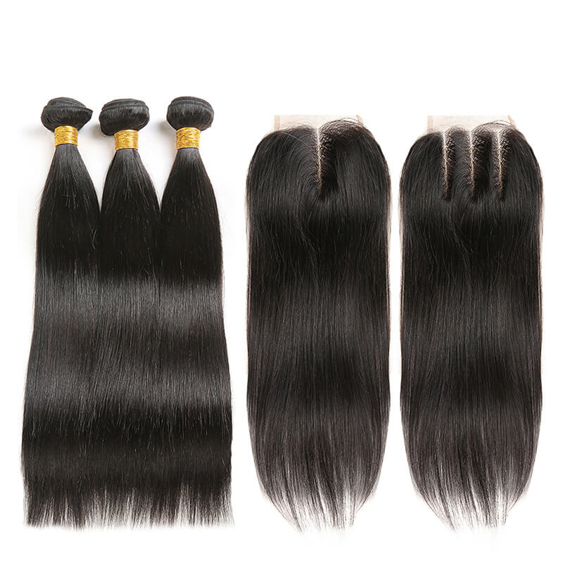 Brazilian Hair Bundles 3 Bundles With One Lace Closure 4X4 Straight Human Hair Weaving Remy Brazilian Hair Natural Color