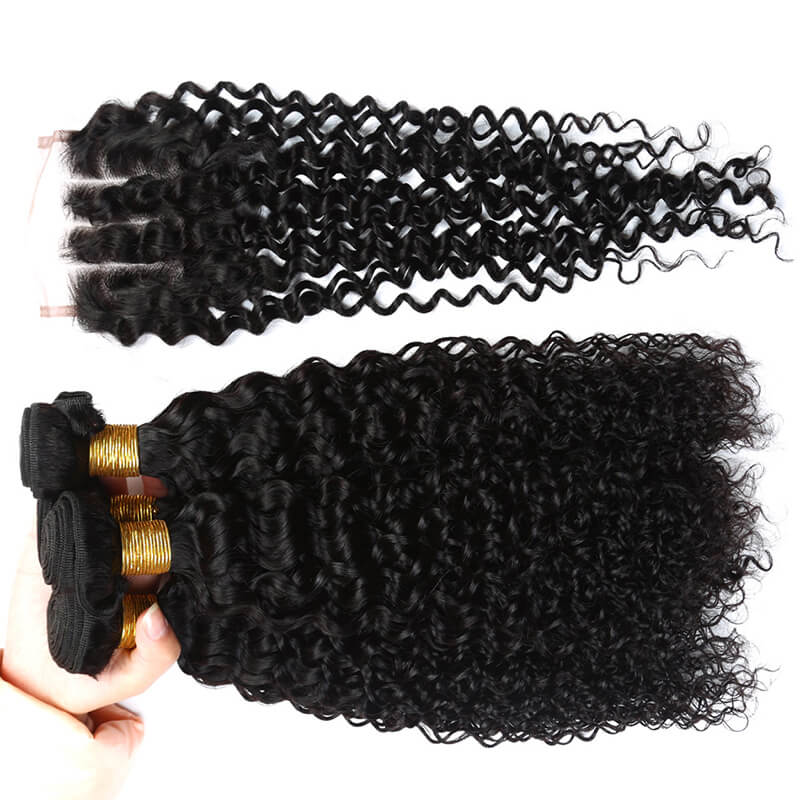 Lace Closure With Bundles Brazilian Hair Fashion Curly Weft With Closure Human Hair 4x4 Closure Remy Hair Free Middle 3 Part