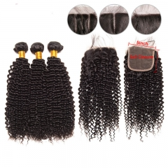 Kinky Curly Unprocessed Human Hair Bundles with 5x5 Swiss Lace Closure 130% Density Unprocessed Brazilian Hair