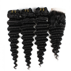 Deep Wave 3 Bundles With Closure 4X4 Lace Human Hair Bundles With Closure Swiss Lace Remy hair Extensions