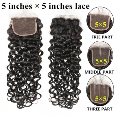 Water Wave Human Hair Bundles 3 Pieces With One Lace Closures Natural Baby Hair Natural Color Hair Can Be Dyed