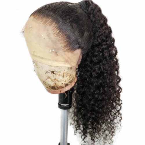 Curly Lace Front Wig Human Hair For Black Women Brazilian Remy Hair Glueless Lace With Baby Hair 130% Density Pre Plucked