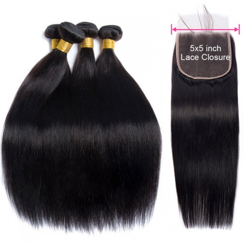 5x5 Brazilian Straight Wave 3 Pieces Human Hair Bundles with Lace Closure Natural Baby Hair