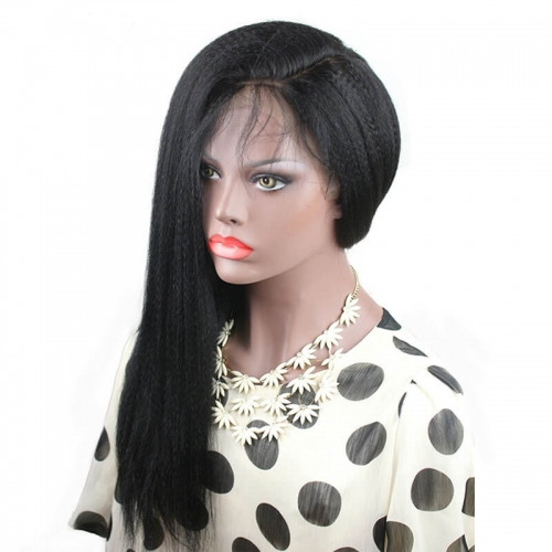 Light Yaki Straight Full Lace Wig Pre Plucked Side Part Glueless 130 Density Lace Wig Brazilian Remy Hair For Women With Baby Hair