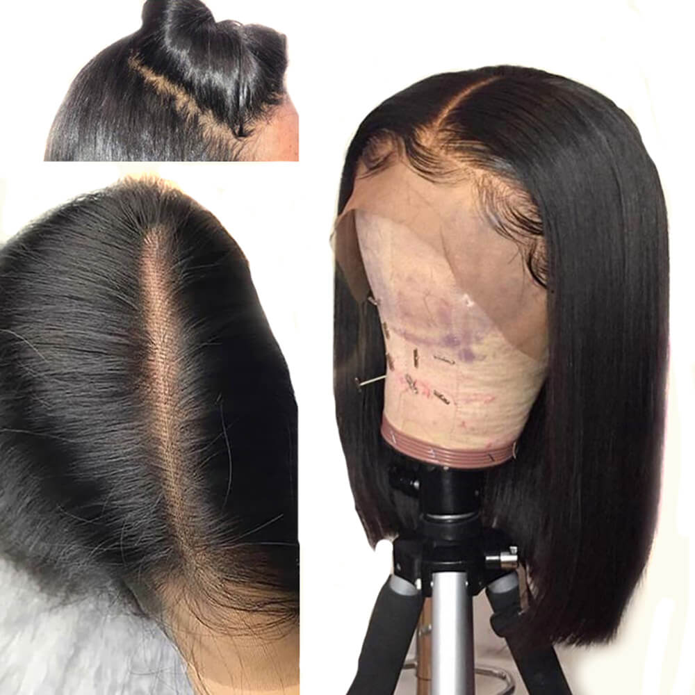 Deep Parting 13X6 Lace Frontal Brazilian Human Hair Lace Wigs With Baby Hair Pre Plucked Hair Line Natural Color Straight Hair