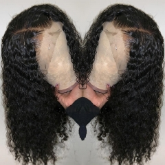 Curly Lace Front Wig 180 Density Pre Plucked Brazilian Remy Hair For Women With Baby Hair Bleached Knots