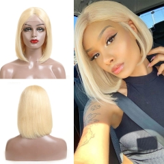 613 Blonde Lace Front Wigs 150% 10-14Inch Straight Bob Brazilian Remy Hair Wig For Women Pre Plucked Natural Hairline