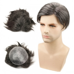 Straight Toupee 1B Brazilian Remy Hair Mixed 20% Synthetic Grey Hair Wigs For Men 10x8 Whole Skin PU Around