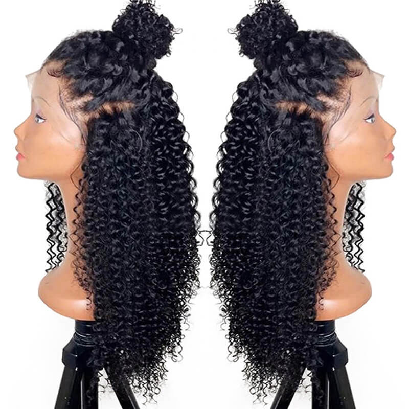 Kinky Curly Lace Front Wigs 150% Pre Plucked With Baby Hair For Women Brazilian Remy Hair Glueless Wig Natural Hairline