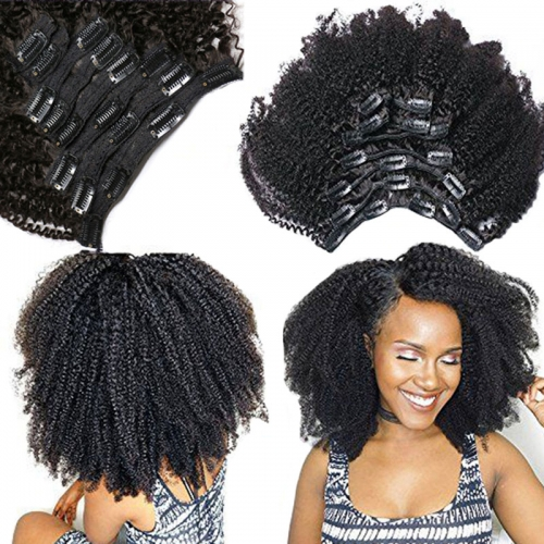 Afro Kinky Curly Weave Remy Brazilian Hair Clip In Human Hair Extensions Natural Color Full Head 80G 120G