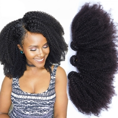 Mongolian Afro Kinky Curly Weave Human Hair Extensions 4B 4C Virgin Hair 1 Or 3 Bundles Natural Black 10-24inch
