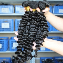 Natural Color Deep Wave Unprocessed Brazilian Remy Human Hair Weave 3 Bundles