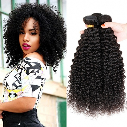 Brazilian Curly Virgin Hair Kinky Curly Hair 1/3/4 Bundles Unprocessed Jerry Curly Weave Weft Human Hair Extensions Natural Black Color